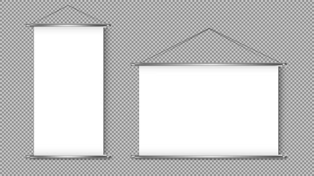 Roll up banner stand isolato su sfondo trasparente. display bianco vuoto per presentazione o esposizione del prodotto. Vettore Premium