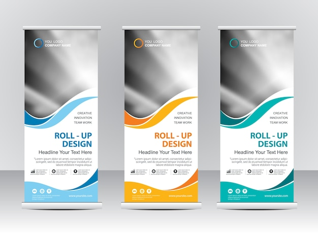 Roll up banner design del modello stand