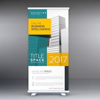 Roll up banner standee modello di visualizzazione vettoriale di progettazione