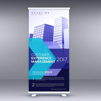 Blu business roll up banner design con forma geometrica