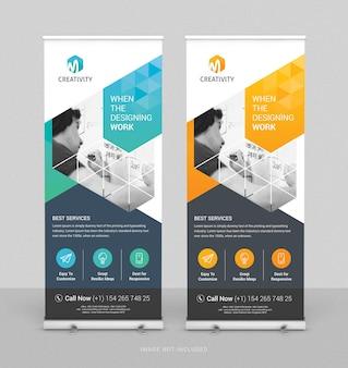 Arrotolare il modello verticale di progettazione di banner aziendali