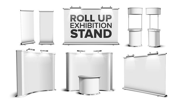 Stand per roll up, scrivania per fiera, set da banco