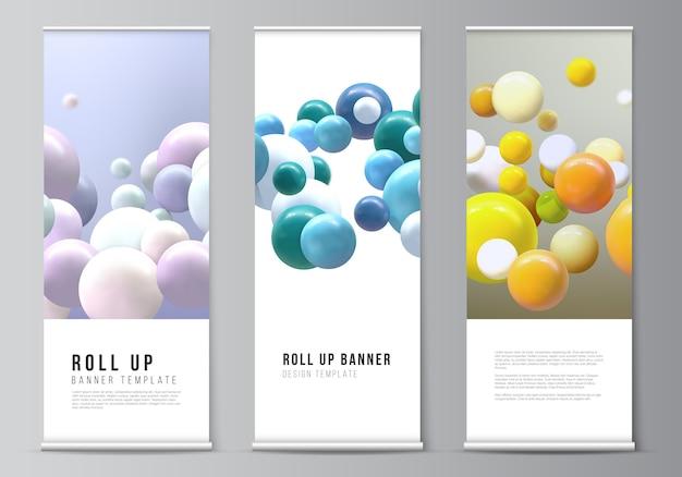 Modelli di roll up per volantini verticali, modelli di design di bandiere, supporti per banner