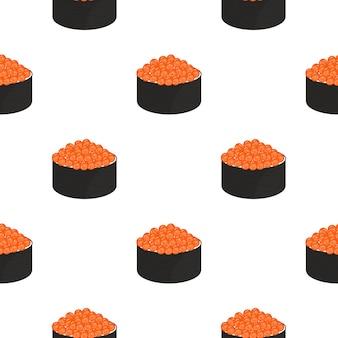 Roll con il caviale. seamless pattern. cibo tradizionale giapponese.