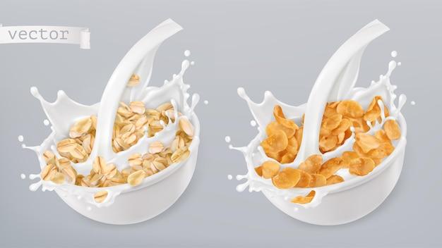 Fiocchi d'avena e spruzzi di latte. fiocchi di mais. insieme dell'icona di vettore realistico 3d