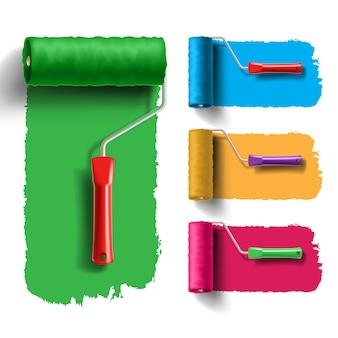 Set di pennelli a rullo con traccia di vernice colorata. strumento creativo, di decorazione e di ristrutturazione