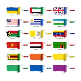 Spazzola a rullo con bandiera nazionale