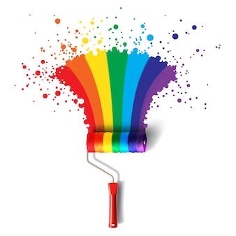 Spazzola a rullo con spruzzi di arcobaleno