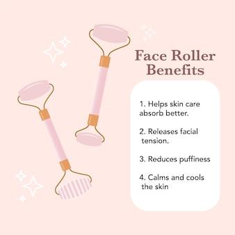 Benefici del rullo per il viso elenco dei vantaggi del rullo massaggio facciale grafica vettoriale