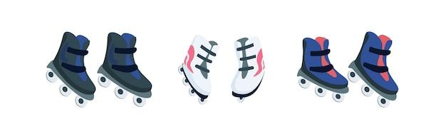 Set di oggetti di colore piatto di pattini a rotelle. scarpe per pattinaggio. attrezzatura sportiva. roller derby. fumetto isolato attività all'aperto