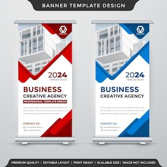 Design del modello di visualizzazione banner rollup con layout astratto e stile moderno