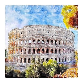 Illustrazione disegnata a mano di schizzo ad acquerello di roma italia