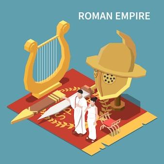 Concetto isometrico dell'impero romano con l'illustrazione dei simboli della civiltà e della cultura
