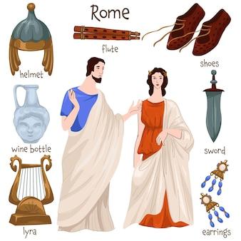Persone e mobili dell'impero romano, vestiti e oggetti personali. uomo e donna isolati in abiti, lyra e scarpe, elmo e flauto, orecchini e spada per battaglie e combattimenti. vettore in stile piatto