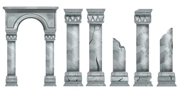 Colonne di marmo romane impostano l'architettura antica della collezione di colonne spezzate in pietra greca di vettore antico