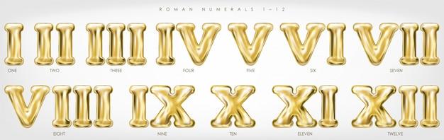 Numeri romani 1-12 con palloncini di lamina d'oro
