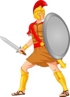 Soldati romani che tengono spade e scudi