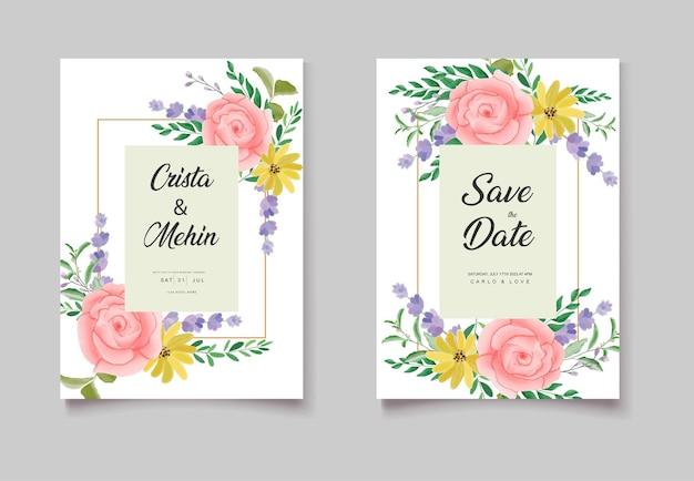 Set di biglietti d'invito per matrimonio ad acquerello romantico