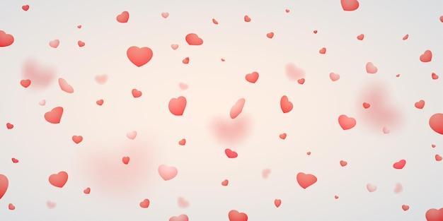 Sfondo romantico di cuori che cadono. san valentino concetto