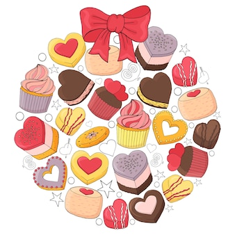 La palla romantica è composta da diversi dessert per san valentino. disegnato a mano.