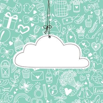 Banner romantico in stile cartone animato. collezione matrimonio o san valentino