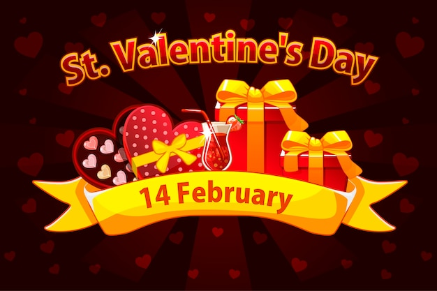Banner romantico per san valentino, biglietti di auguri, poster. per il giorno di san valentino. oggetti su un livello separato