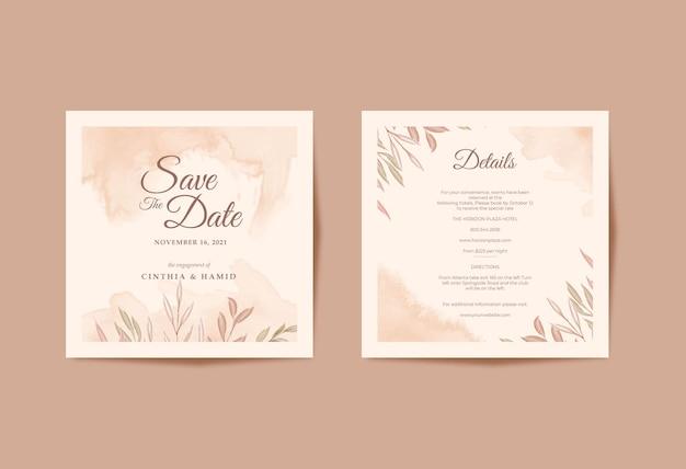 Modello quadrato di carta di matrimonio romantico e bellissimo