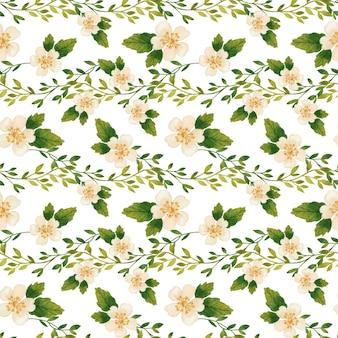 Rami romantici e fiori che sbocciano seamless pattern acquerello su sfondo bianco