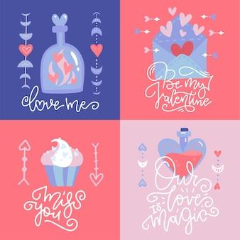 Collezione di carte romantiche. banner quadrati set di tema d'amore in stile boho. citazioni di lettere disegnate a mano.