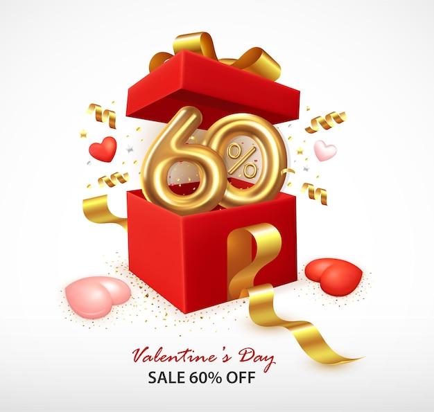 Composizione romantica con confezione regalo aperta e coriandoli