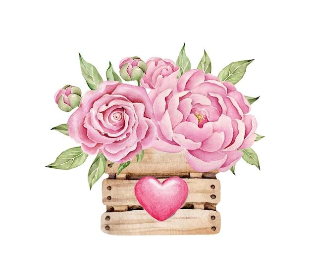 Composizione romantica con scatola di legno e peonie