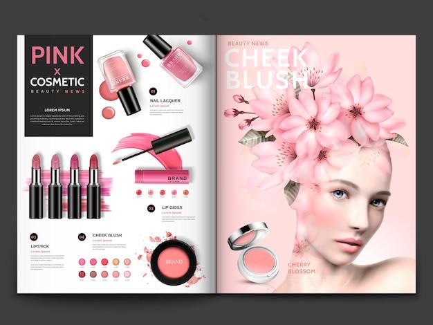 Modello di rivista cosmetica romantica, prodotti di trucco serie rosa con ritratto di modello decorato floreale in illustrazione 3d, brochure di una rivista o di un catalogo