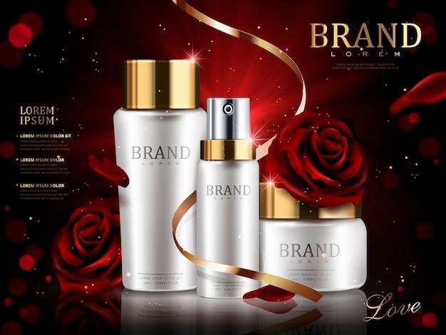 Set cosmetico romantico, bellissime rose rosse e nastro dorato isolato 3d illustrazione