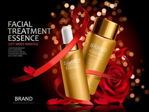 Set cosmetico romantico, essenza facciale dorata con rose rosse nastri rossi isolati nell'illustrazione 3d