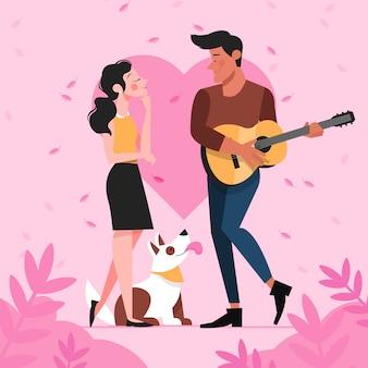 Illustrazione di coppia romantica