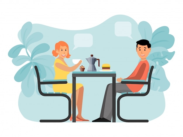 Riunione adorabile delle coppie romantiche, caffè di seduta femminile maschio del carattere isolato su bianco, illustrazione.