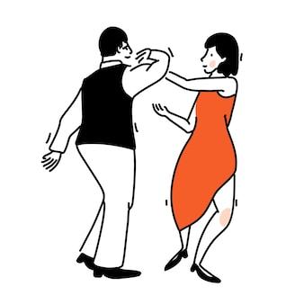 Coppia di ballo romantico. donna in elegante abito rosso e uomini in maglia nera. illustrazione di tango, arte di contorno vettoriale di ballo sociale.