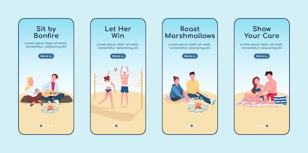 Appuntamento romantico al modello piatto schermo mobile app onboarding spiaggia.