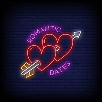 Date romantiche insegne al neon in stile testo