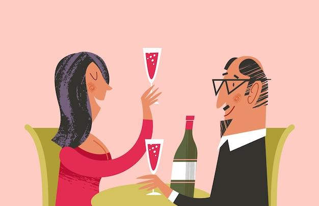 Cena romantica insieme. l'uomo e la donna bevono vino. illustrazione di vettore con struttura disegnata a mano unica.