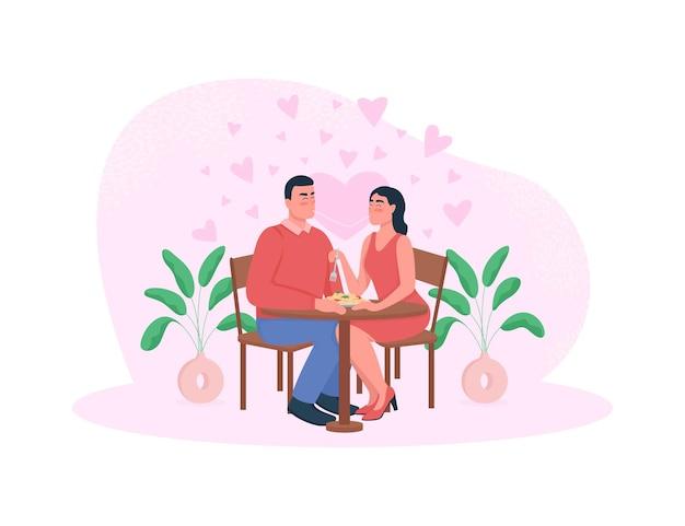 Banner web cena romantica, poster. le coppie mangiano le tagliatelle.