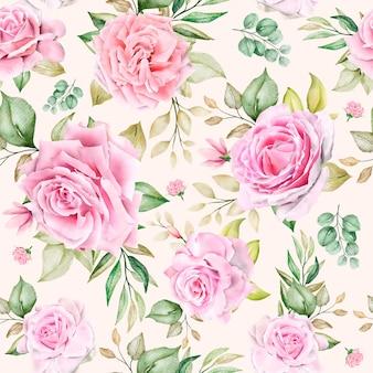 Romantico motivo floreale senza soluzione di continuità