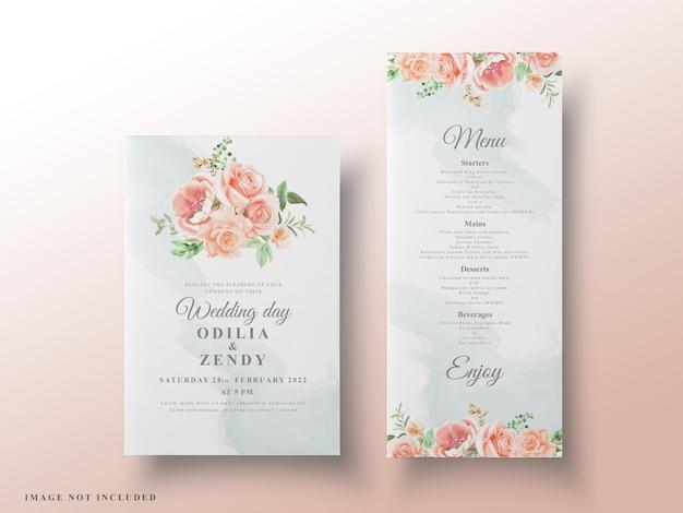 Carte di nozze floreali romantiche dell'acquerello