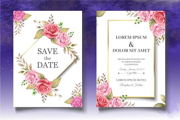Insieme floreale romantico della carta di nozze