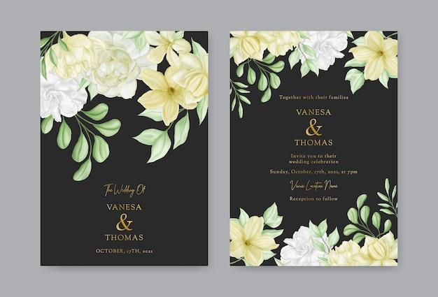 Modello di carta di invito matrimonio floreale romantico