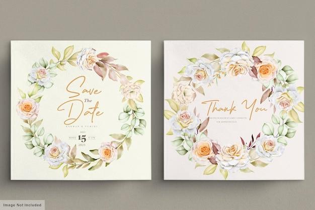 Insieme di carta di nozze floreale disegnato a mano romantico