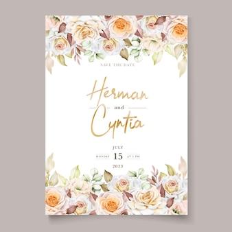 Set di carte invito matrimonio floreale disegnato a mano romantico