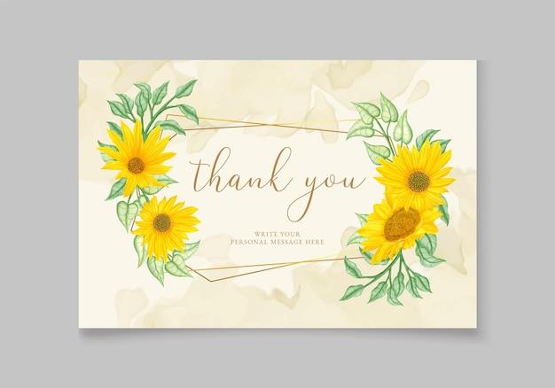 Biglietto di ringraziamento per matrimonio floreale romantico disegnato a mano
