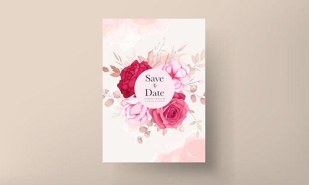 Carta di invito a nozze floreale marrone disegnata a mano romantica
