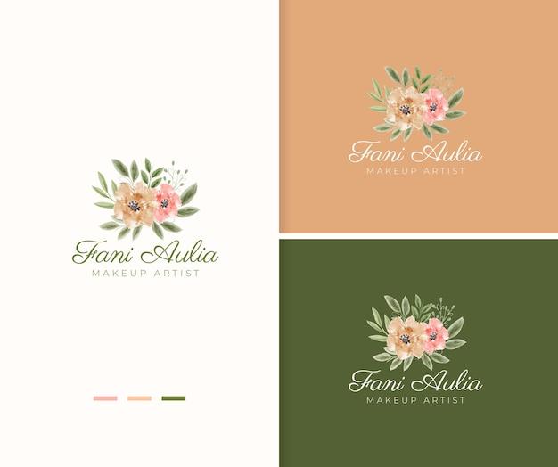 Modello romantico di logo del fiore dell'acquerello dipinto a mano